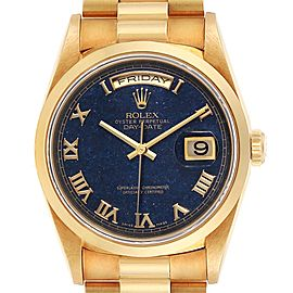 Rolex President Yellow Gold Blue Aventurine Mens Watch 18208 Box Papers