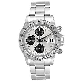 Tudor Prince Oysterdate Chrono Silver Vertical Panda Dial Watch 79180