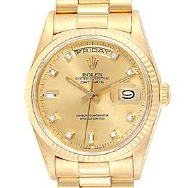 Rolex President Day-Date 36 Yellow Gold Diamonds Mens Watch 18238