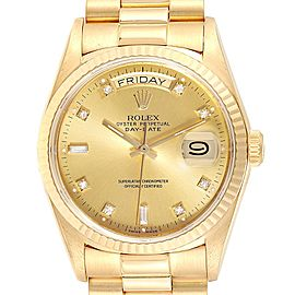 Rolex President Day-Date 18k Yellow Gold Diamond Mens Watch 18038