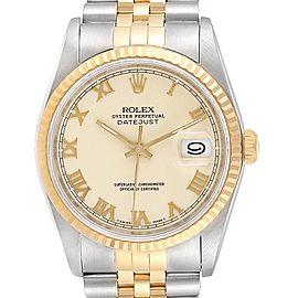 Rolex Datejust Steel Yellow Gold Roman Dial Mens Watch 16233