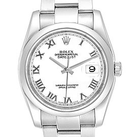 Rolex Datejust 36 White Roman Dial Steel Mens Watch 116200