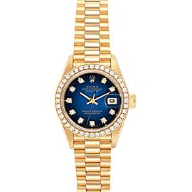 Rolex President Yellow Gold Vignette Diamond Ladies Watch 69138 Box Papers