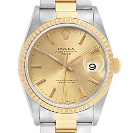 Rolex Date Mens Steel 18k Yellow Gold Baton Dial Mens Watch 15223
