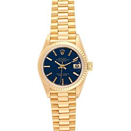 Rolex President Datejust 26 Yellow Gold Blue Dial Ladies Watch 69178