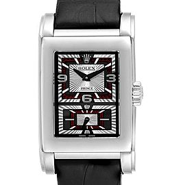 Rolex Cellini Prince Black Dial White Gold Mens Watch 5443 Box Papers