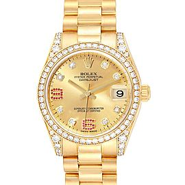 Rolex President 31 Midsize Yellow Gold Diamond Ruby Ladies Watch 178158