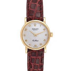 Rolex Cellini Classic 18k Yellow Gold Brown Strap Ladies Watch 6110