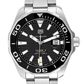 Tag Heuer Aquaracer Calibre 5 Black Dial Mens Watch WAY201A Box Card