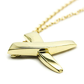 TIFFANY & co 18K Yellow Gold X Kiss Pendant Necklace HK-2049