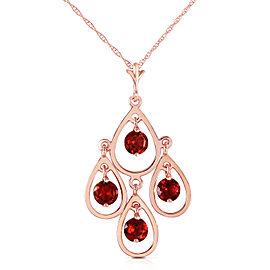 14K Solid Rose Gold Necklace with Natural Garnets