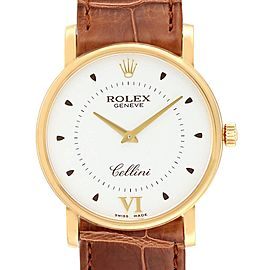 Rolex Cellini Classic Yellow Gold Brown Strap Mens Watch 5115 Box