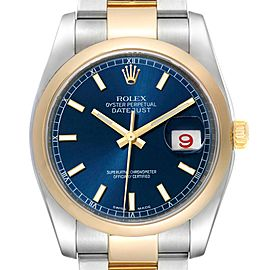 Rolex Datejust Steel Yellow Gold Blue Dial Mens Watch 116203 Box Card