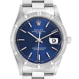 Rolex Date Blue Dial Oyster Bracelet Steel Mens Watch 15210 Box Papers