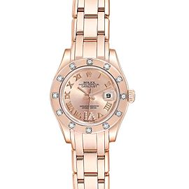 Rolex Pearlmaster Rose Gold Diamond Ladies Watch 80315 Box Card