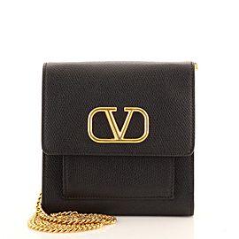Valentino VLogo Front Pocket Chain Crossbody Bag Leather Mini