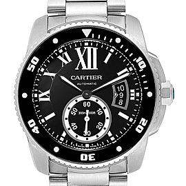 Calibre De Cartier Black Dial Automatic Steel Mens Watch W7100057