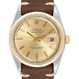 Rolex Datejust Steel Yellow Gold Brown Strap Vintage Mens Watch 1601