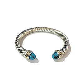 David Yurman Sterling & 14k Gold Turquoise Bracelet, 7mm