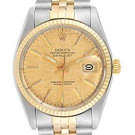 Rolex Datejust 36 Steel Yellow Gold Linen Dial Vintage Mens Watch 16013