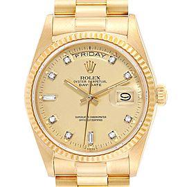 Rolex President Day-Date 18k Yellow Gold Diamond Watch 18038