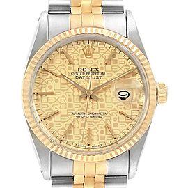 Rolex Datejust Steel Yellow Gold Anniversary Dial Vintage Mens Watch 16013