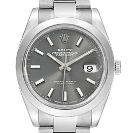 Rolex Datejust 41 Grey Dial Steel Mens Watch 126300 Box Card