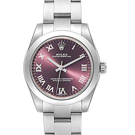 Rolex Oyster Perpetual Midsize Red Grape Dial Ladies Watch 177200 Unworn