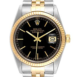 Rolex Datejust Steel Yellow Gold Black Dial Vintage Mens Watch 16013