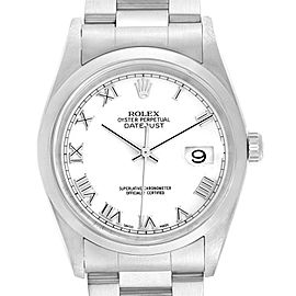 Rolex Datejust White Roman Dial Oyster Bracelet Steel Mens Watch 16200