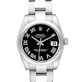 Rolex Datejust Midsize Black Dial Steel Ladies Watch 178240 Box Card