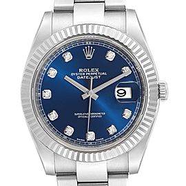 Rolex Datejust 41 Steel White Gold Diamond Mens Watch 126334 Box Card