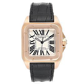 Cartier Santos 100 38mm Rose Gold Silver Dial Mens Watch W20095Y1