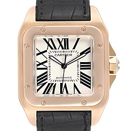 Cartier Santos 100 38mm Rose Gold Silver Dial Mens Watch W20095Y1