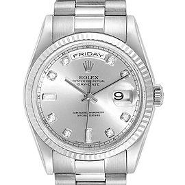 Rolex President Day-Date 18k White Gold Diamond Mens Watch 118239