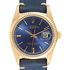 Rolex Datejust Yellow Gold Tiger Eye Dial Vintage Mens Watch 16018