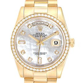 Rolex President Day Date Yellow Gold Diamond Dial Bezel Mens Watch 118348