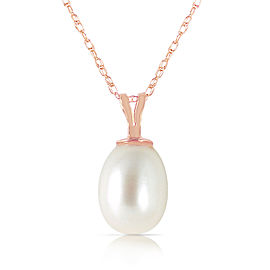 14K Solid Rose Gold Necklace with Natural pearl