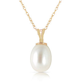 4 CTW 14K Solid Gold Hope On A Chain pearl Necklace