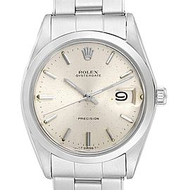 Rolex OysterDate Precision Silver Dial Oyster Bracelet Vintage Watch 6694