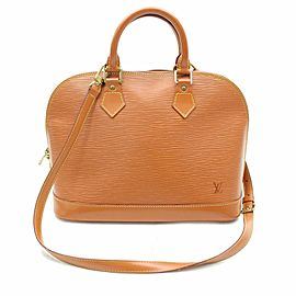 Louis Vuitton Alma With Strap 869248 Brown Leather Satchel