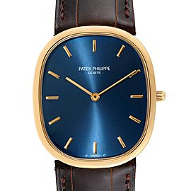 Patek Philippe Golden Ellipse Yellow Gold Blue Dial Watch 3738 Papers
