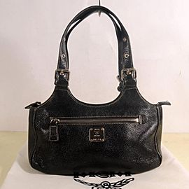 MCM 869327 Black Leather Shoulder Bag