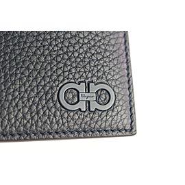 Salvatore Ferragamo Navy Blue Gancini Revival Gancio Leather Long 21mz1912 Wallet