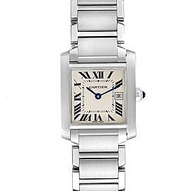 Cartier Tank Francaise Midsize Blue Hands Ladies Watch W51011Q3 Papers