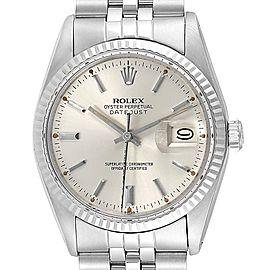Rolex Datejust Steel White Gold Fluted Bezel Vintage Mens Watch 16014