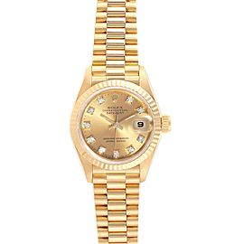 Rolex President Datejust 26 Yellow Gold Diamond Dial Ladies Watch 69178