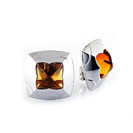 Bulgari Piramide 18K White Gold Citrine Earrings