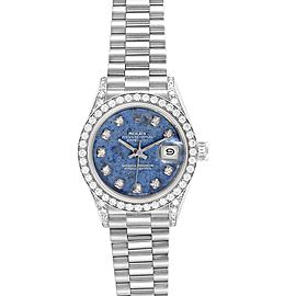 Rolex President Datejust White Gold Sodalite Diamond Ladies Watch 69159
