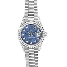 Rolex President Datejust White Gold Sodalite Diamond Ladies Watch 69159